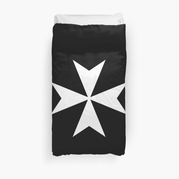 CROSS. MALTA. Maltese, Amalfi Cross, Maltese cross, Knights Hospitaller, WHITE on BLACK. Duvet Cover