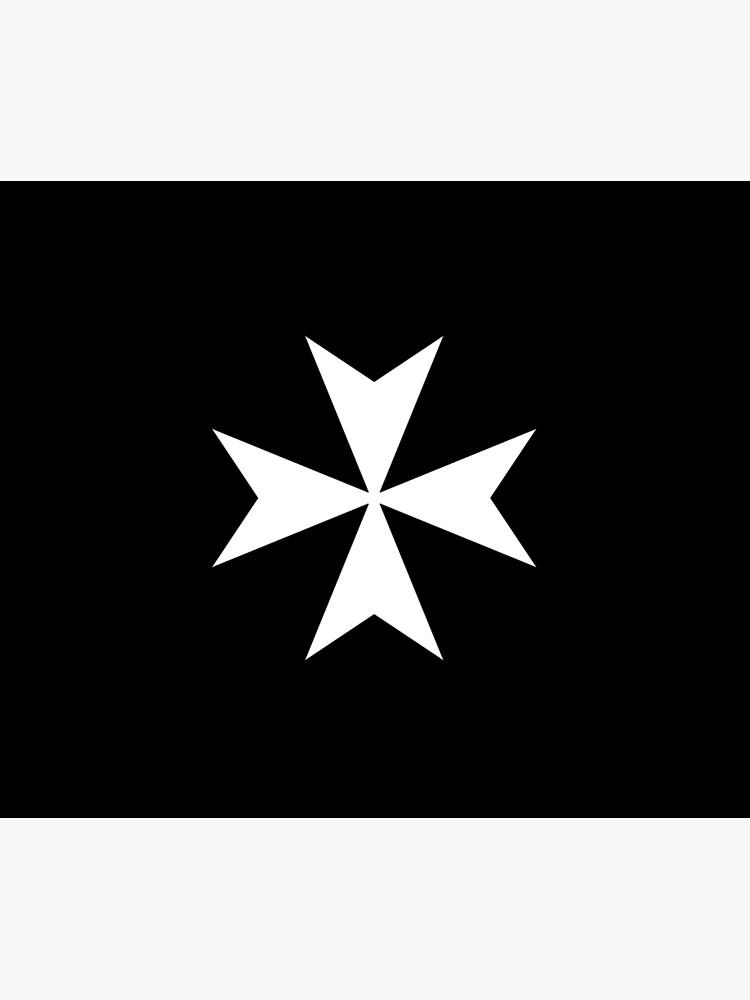 CROSS. MALTA. Maltese, Amalfi Cross, Maltese cross, Knights Hospitaller, WHITE on BLACK. by TOMSREDBUBBLE