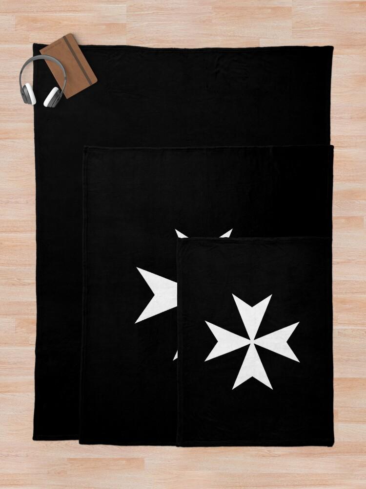 Alternate view of CROSS. MALTA. Maltese, Amalfi Cross, Maltese cross, Knights Hospitaller, WHITE on BLACK. Throw Blanket