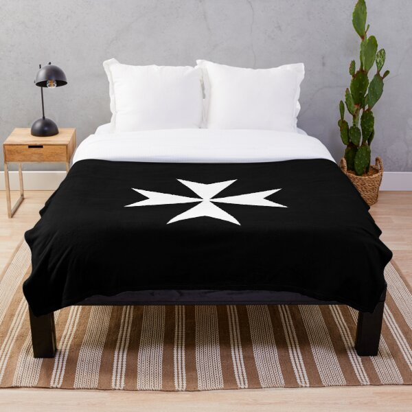 CROSS. MALTA. Maltese, Amalfi Cross, Maltese cross, Knights Hospitaller, WHITE on BLACK. Throw Blanket
