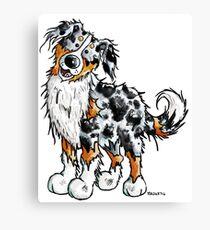 Happy Australian Shepherd Dog Canvas Print