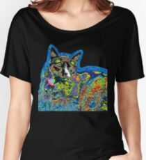 Alfie on Grass - Psychedelic Cat IV Women's Relaxed Fit T-Shirt