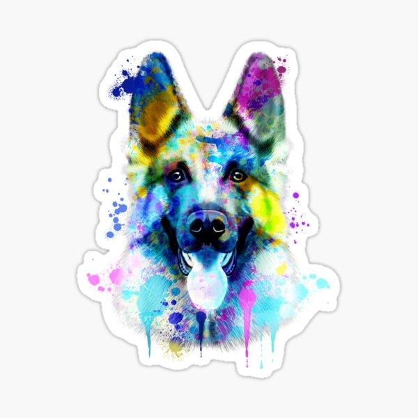 German Shepherd Watercolor, Watercolor Dog print, German ShepherdPortrait, German Shepherd Painting Sticker