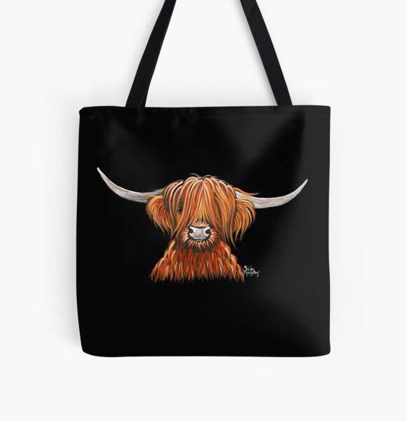 Voici une autre de mes impressions de vache poilue des Highlands «HARLEY».  J'espère que vous l'aimez!  Bonne journée ............. Shirley x Tote bag doublé