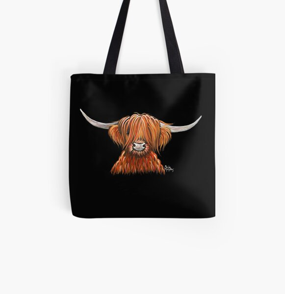 Scottish Hairy Highland Cow ' HARLEY 2 ' by Shirley MacArthur All Over Print Tote Bag