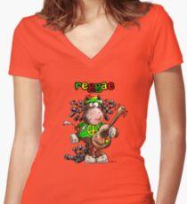 Cool Reggae Horse Women's Fitted V-Neck T-Shirt