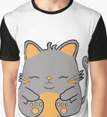 Cute Kitty Cat - Grey Graphic T-Shirt