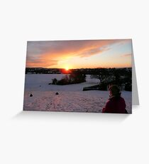 Sledging Into The Sunset Greeting Card