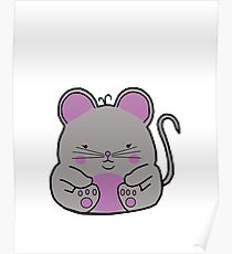 Cute Mouse -  Grey Poster