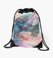 Heavenly Pastels 2: Original Abstract Ink Painting Drawstring Bag