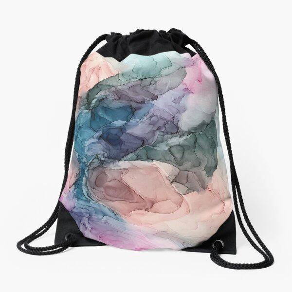 Heavenly Pastels 2: Original Abstract Ink Painting Drawstring Bag