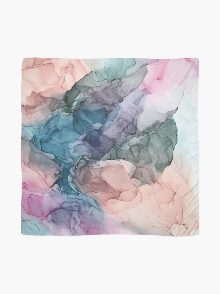 Alternate view of Heavenly Pastels 2: Original Abstract Ink Painting Scarf
