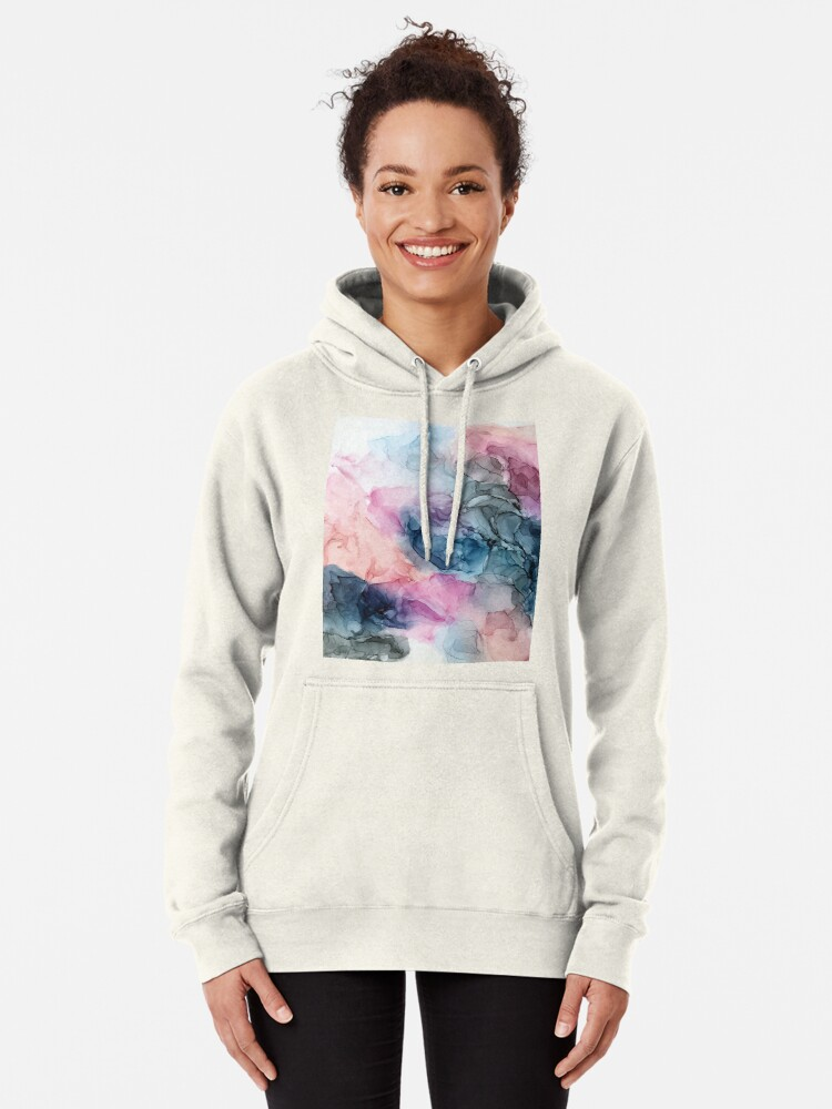 Alternate view of Heavenly Pastels 1: Original Abstract Ink Painting Pullover Hoodie