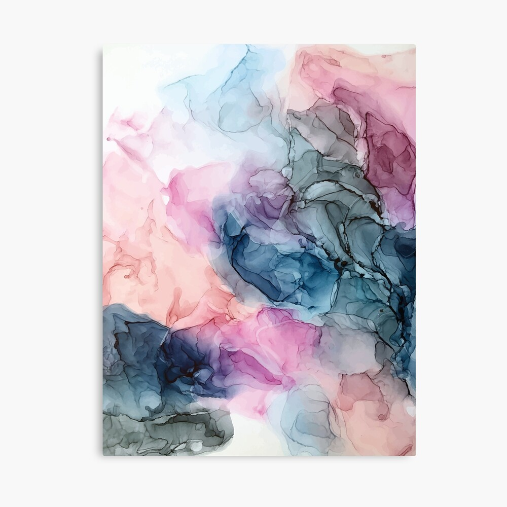 Heavenly Pastels 1: Original Abstract Ink Painting Canvas Print