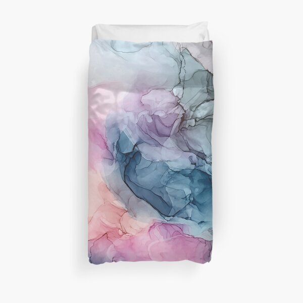 Heavenly Pastels 1: Original Abstract Ink Painting Duvet Cover