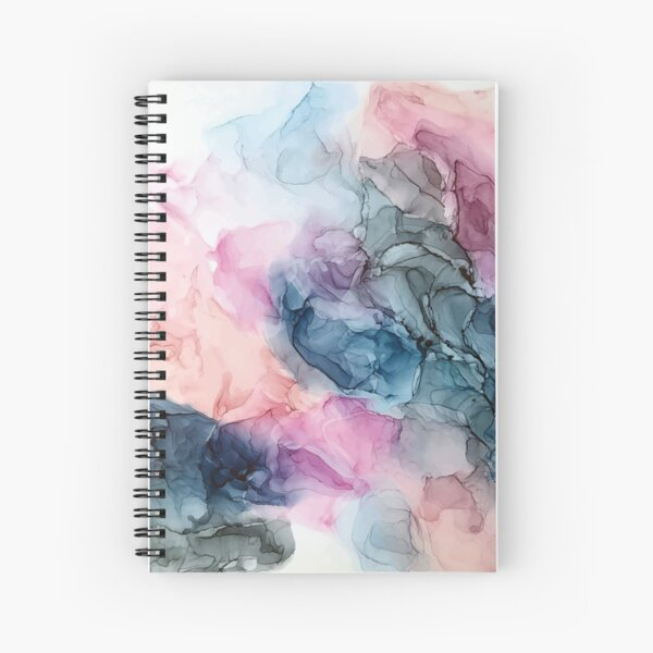 Heavenly Pastels 1: Original Abstract Ink Painting Spiral Notebook