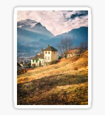 Old house in the Italian countryside by the Alps Sticker