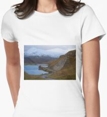 Country road in the Scottish Highlands of Sutherland Scotland UK Women's Fitted T-Shirt