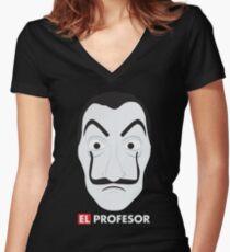 El Profesor La Casa De Papel Women's Fitted V-Neck T-Shirt