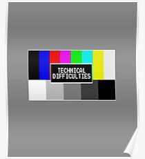 Technical Difficulties Classic Over The Air TV Screen Design Poster