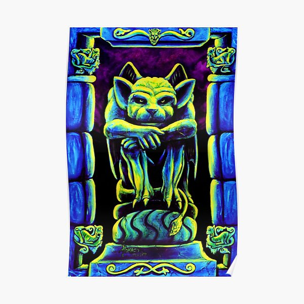 Psychedelic Trippy Goth Gargoyle by Vincent Monaco Poster