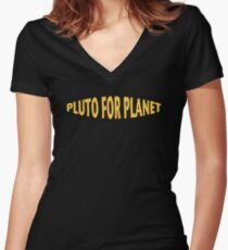 Pluto For Planet Women's Fitted V-Neck T-Shirt