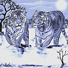 Snow Tigers Blue Justin Beck Picture 2015088 by Justin Beck
