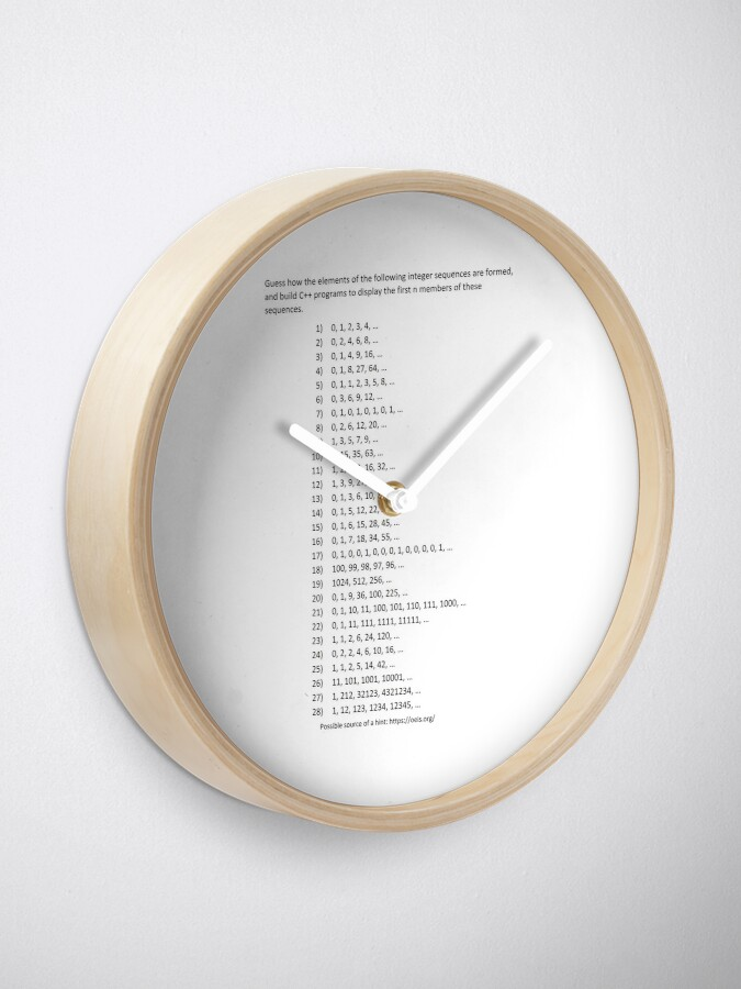 Alternate view of Guess how the elements of the following integer sequences are formed Clock