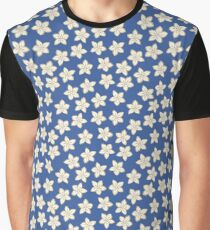 Simple Cream Flowers on Blue Graphic T-Shirt