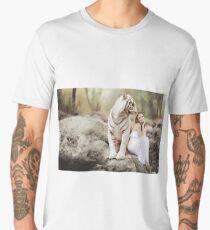White bengal tiger with woman Men's Premium T-Shirt