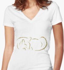 Gold Sumi-e Cat Women's Fitted V-Neck T-Shirt