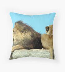 Lion pair relaxing Throw Pillow