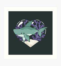 MEGABYTE, the Megalodon Shark Art Print