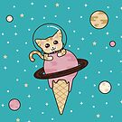Space Cat with Ice Cream Cone by latheandquill