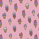 Kawaii Ice Cream Pattern by latheandquill