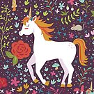 Unicorn Pattern on Maroon by latheandquill