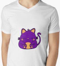 Cute Kitty Cat - Purple Men's V-Neck T-Shirt