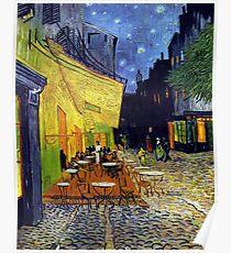 Cafe Terrasse bei Nacht für immer Poster
