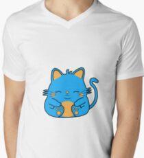 Cute Kitty Cat - Blue Men's V-Neck T-Shirt