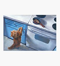 Cat Begging For Bacon Painting Photographic Print