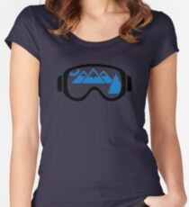 Ski goggles mountains Women's Fitted Scoop T-Shirt
