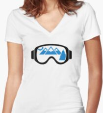 Ski goggles mountains Women's Fitted V-Neck T-Shirt