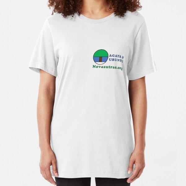 Compact Novasutras Logo with Agaya & Ubuntu plus URL Slim Fit T-Shirt