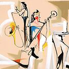 Musicians Couple Composition Expressive Line Drawing by CatarinaGarcia