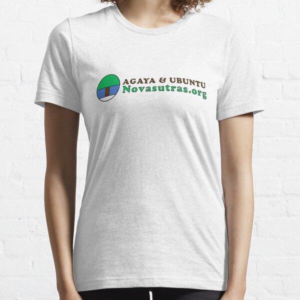 Small Novasutras Logo with Agaya & Ubuntu plus URL Across Essential T-Shirt