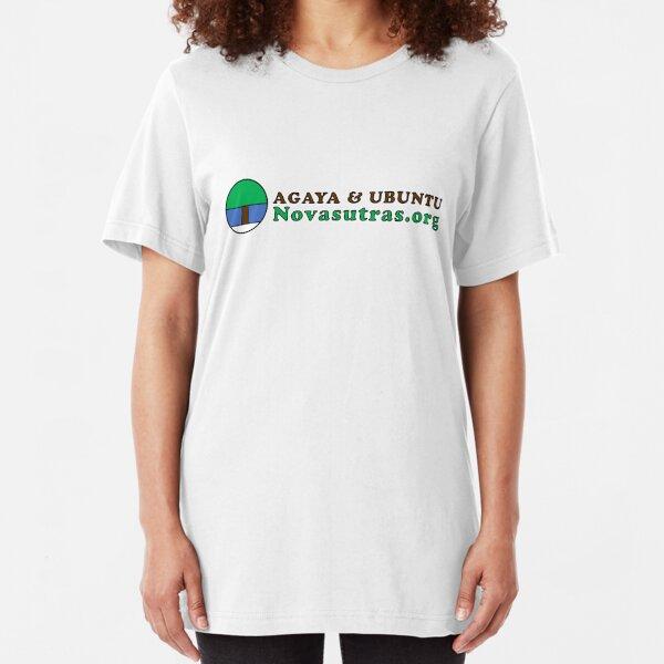 Small Novasutras Logo with Agaya & Ubuntu plus URL Across Slim Fit T-Shirt