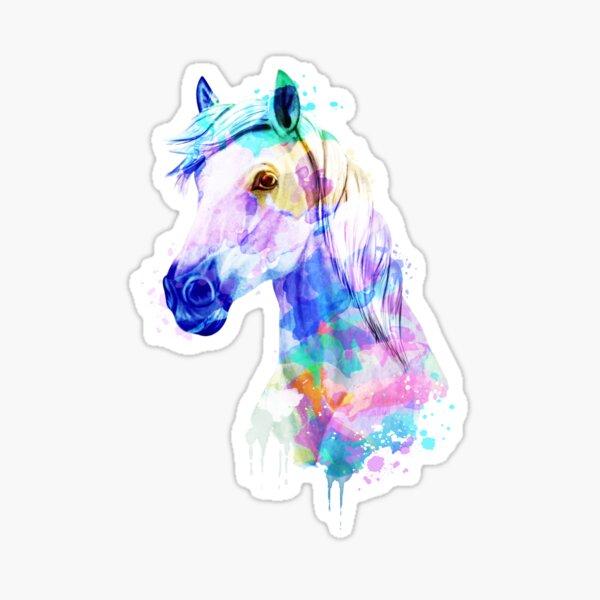 Caballo Acuarela, Caballo de acuarela, Arte de caballo, Retrato de caballo Pegatina