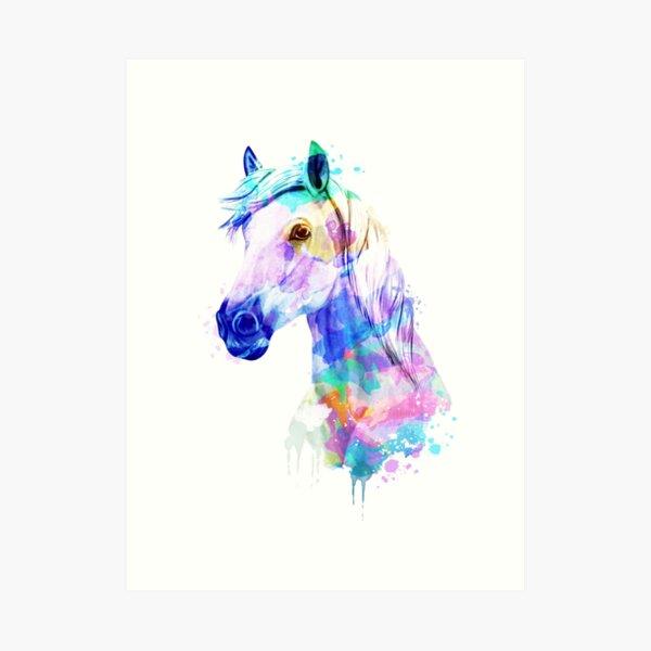 Peinture à l'aquarelle de cheval, aquarelle, cheval, cheval Portrait Impression artistique