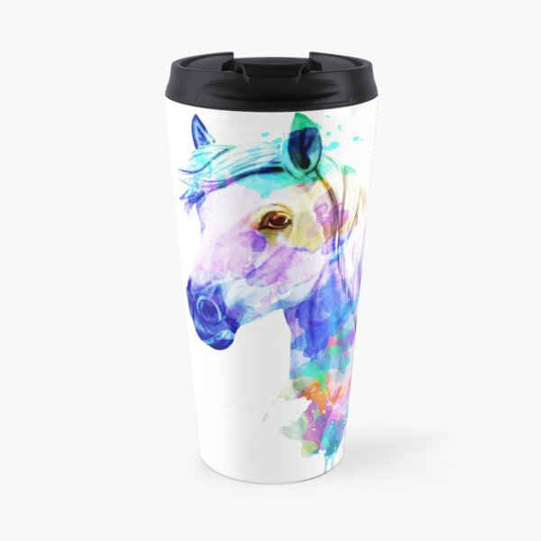 Horse Watercolor Painting, Watercolor Horse, Horse art, Horse Portrait Travel Mug