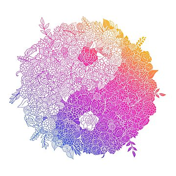 Rainbow Floral Yin Yang by dinafiala